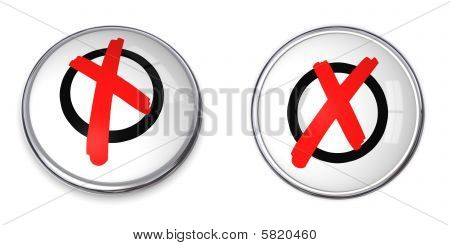 Tick Mark Button - Red Cross