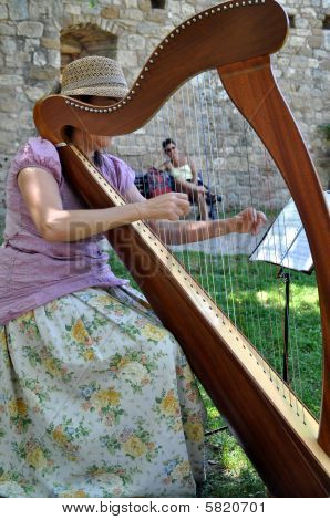 Female Harpist Playing In Yard