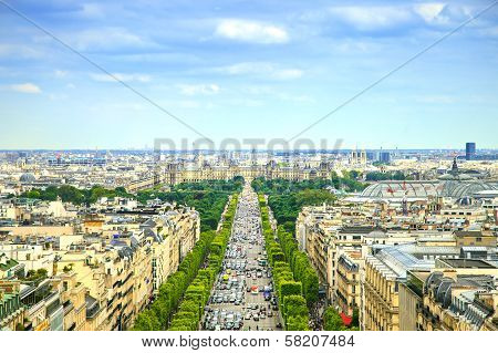 Paris, Panoramic Aerial View Of Champs Elysees. France