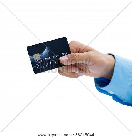 Closeup Of Hand Holding Credit Card Over White Background, Ready For Payment