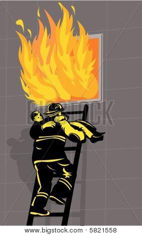 Bombero salvando a un niño de un edificio en llamas