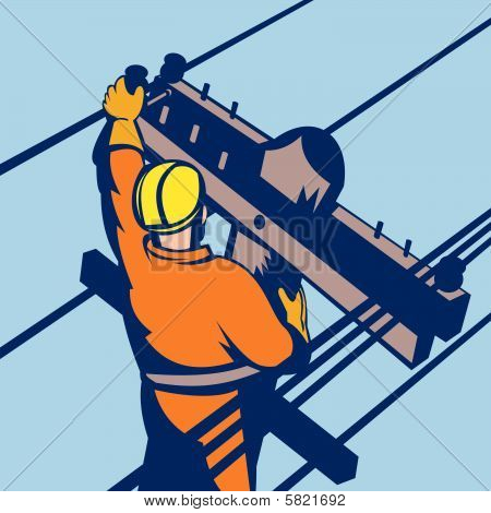 Power lineman at work