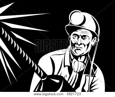 Coal miner working with pneumatic drill