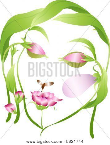 Vektor-schöne Blume Frau Gesicht mit enger Augen, Blätter und Blumen-Knospen