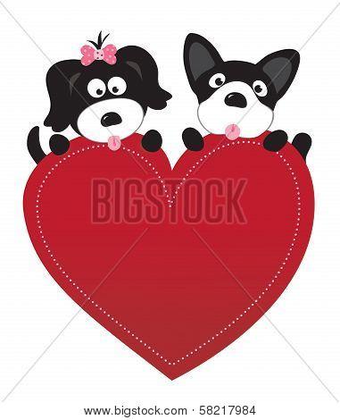 Valentine puppies vector
