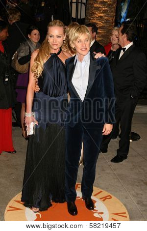 Portia de Rossi and Ellen DeGeneres at the 2007 Vanity Fair Oscar Party. Mortons, West Hollywood, CA. 02-25-07
