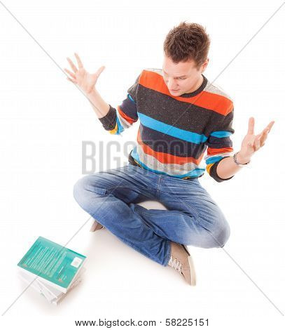 Tired College Student With Stack Of Books Studying For Exams Isolated