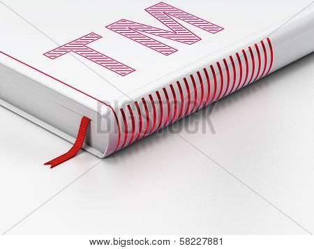 Law concept: closed book, Trademark on white background