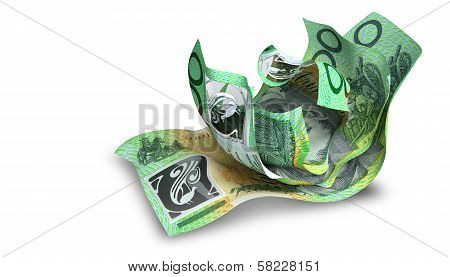 Scrunched Up Australian Dollar Notes