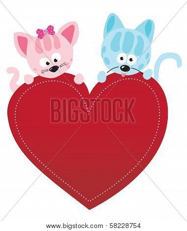 Valentine kitties vector