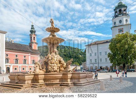 The Horse Fountain In Residenplatz