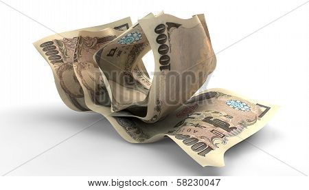 Scrunched Up Japanese Yen Notes