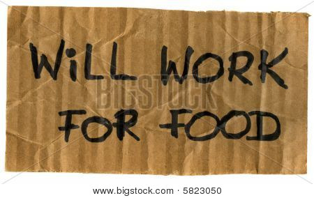 Will Work For Food Cardboard Sign