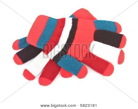 Color Knitted Gloves Isolated