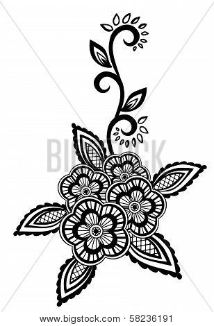 Beautiful Floral Element. Black-and-white Flowers And Leaves Design Element With Imitation Guipure E