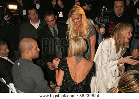 Tito Ortiz and Jenna Jameson with Paris Hilton inside at the 2B Free Fall 2007 Collection Fashion Show. Boulevard 3, Hollywood, CA. 03-19-07