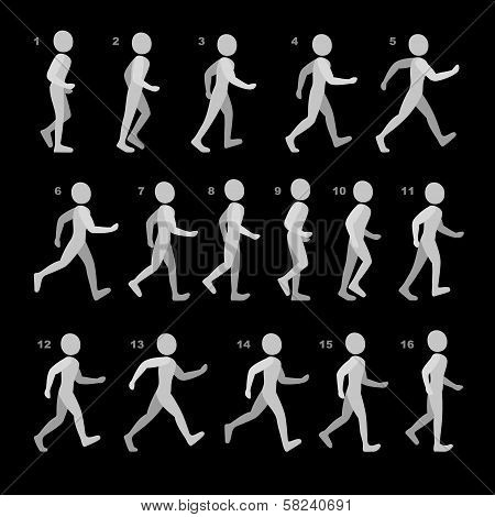Phases of Step Movements Man in Walking Sequence for Game Animation on black