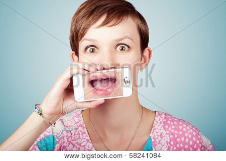 Stressed Woman With Smashed Smartphone Screen