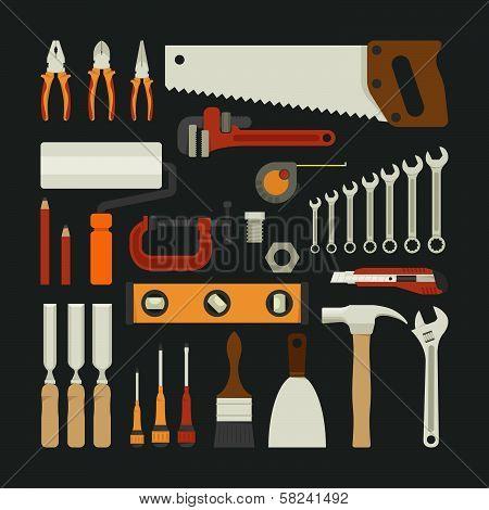 Hand Tools Icon Set , Flat Design