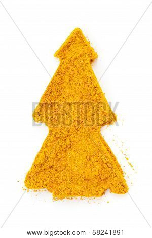 Heap Ground Curry (madras Curry) Isolated In Christmas Tree Shape On White Background.