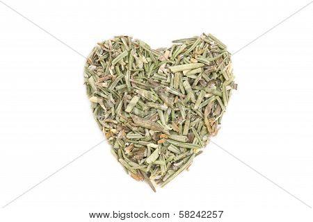 Rosemary (rosmarinus Officinalis) Isolated In Heart Shape On White Background..