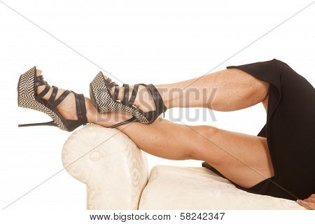 Mature Woman Legs Lay Black Shoes