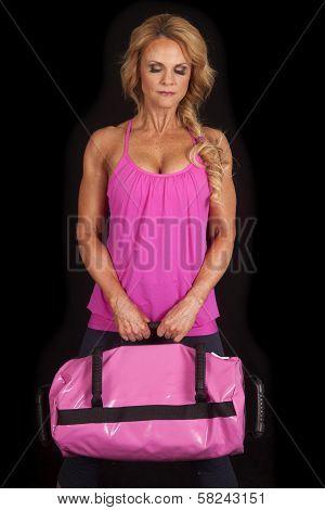 Mature Woman Pink Black Bag Look Down