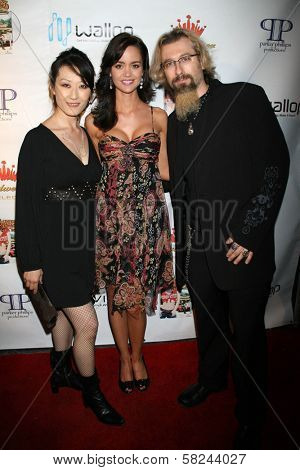 April Scott with the designers of Yoga Army at the DVD Release Party for