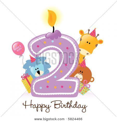 Animales y vela de cumpleaños feliz