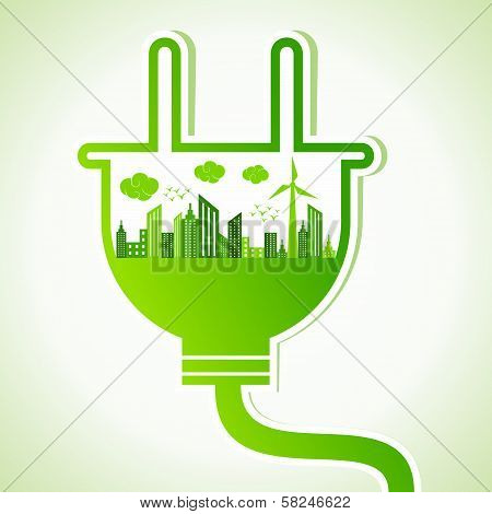 Ecology concept with electric plug