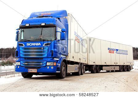 Blue Scania R620 Truck And Trailer