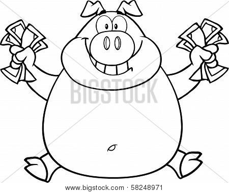 Black And White Smiling Rich Pig Jumping With Cash