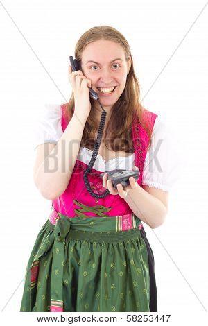 Bavarian Maid Dialling Her Friend