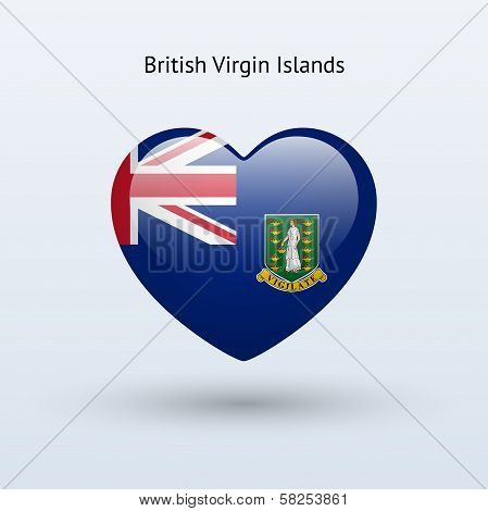 Love British Virgin Islands symbol. Heart flag icon.