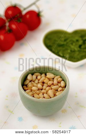 Cedar nuts. Pesto alla Genovese , Basil Sauce.