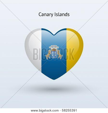 Love Canary Islands symbol. Heart flag icon.