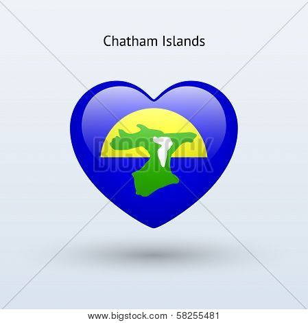 Love Chatham Islands symbol. Heart flag icon.