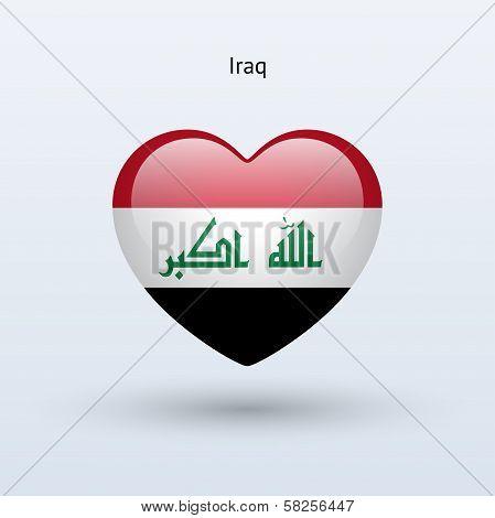 Love Iraq symbol. Heart flag icon.