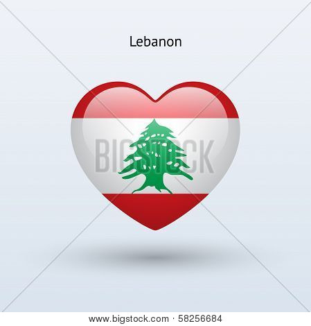 Love Lebanon symbol. Heart flag icon.
