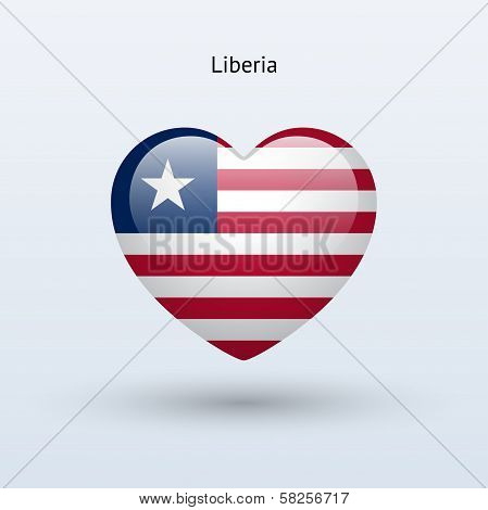 Love Liberia symbol. Heart flag icon.