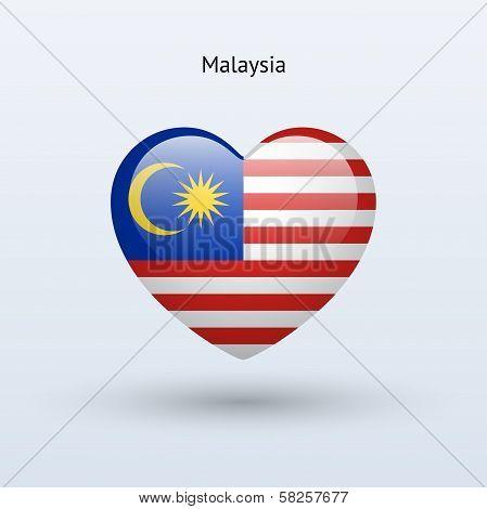Love Malaysia symbol. Heart flag icon.