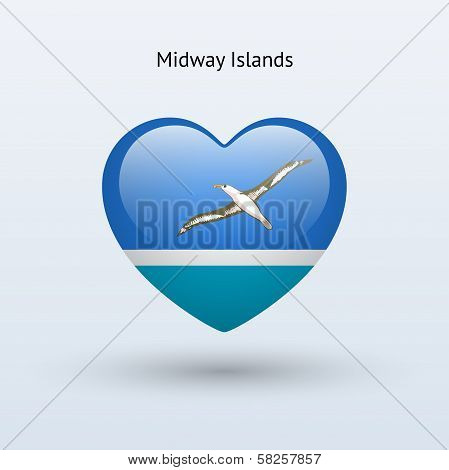 Love Midway Islands symbol. Heart flag icon.
