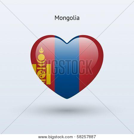 Love Mongolia symbol. Heart flag icon.