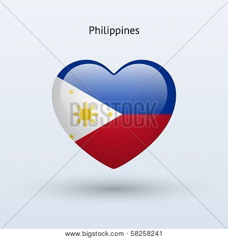 Love Philippines symbol. Heart flag icon.