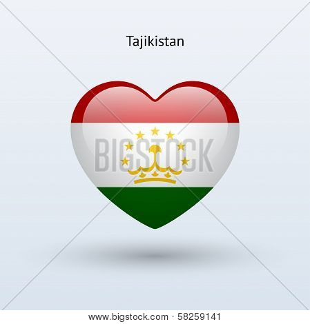 Love Tajikistan symbol. Heart flag icon.