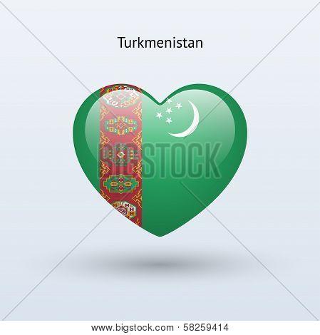 Love Turkmenistan symbol. Heart flag icon.