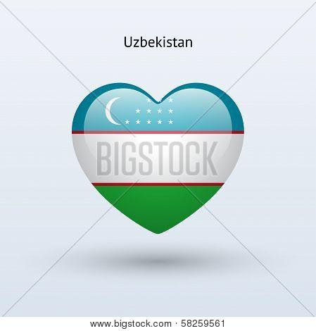 Love Uzbekistan symbol. Heart flag icon.