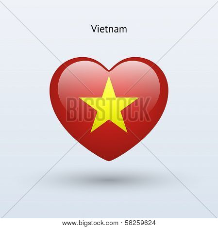 Love Vietnam symbol. Heart flag icon.