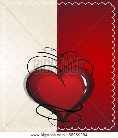 Valentine Heart With Vintage Pattern