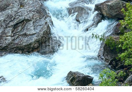 Summer Mountain River Waterfalls